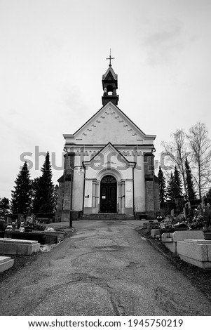 church in the cemetery today stock photo