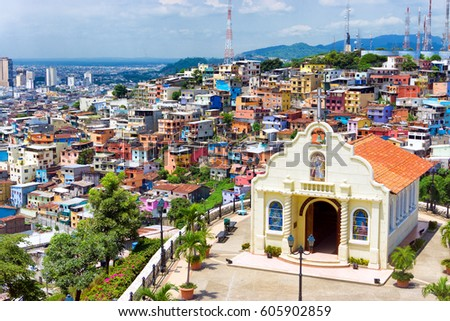 Church in the city of Guayaquil, Ecuador on Santa Ana Hill
