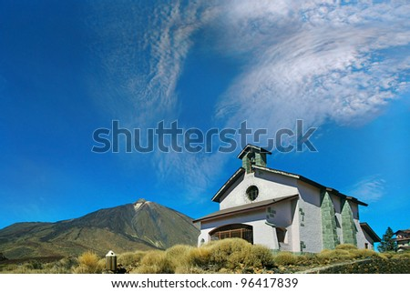 Church in the crater of the volcano El Teide, Teide National Park, Tenerife, Spain, World Heritage Site by UNESCO