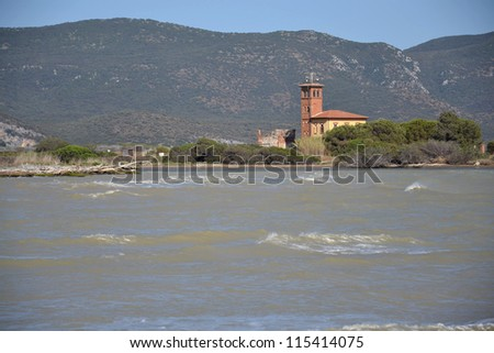 Church in the delta of Fiume Ombrone in Tuscany, Italy