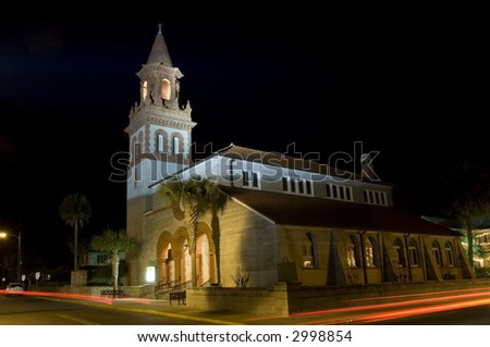 Church in the oldest european settlement in USA - St. Augustine, Florida - stock photo