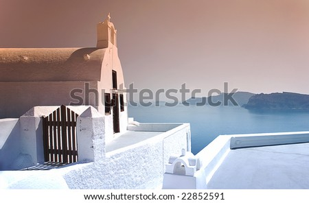 Church in the top of mountain with ocean view Santorini, Greece