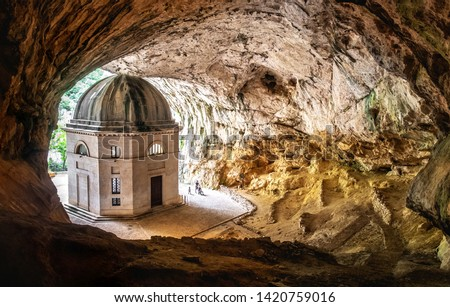 church inside cave in Italy - Marche - the temple of Valadier church near Frasassi caves in Genga Ancona .