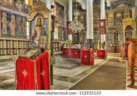 church inside, colorful interior