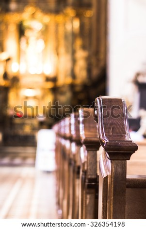 Church interior. Christian religion architecture. Religious catholic old cathedral inside. Christianity faith building indoor.