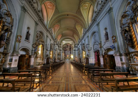 Church interior in the neighborhood of San Telmo, near Plaza de Mayo in Buenos Aires, Argentina, this Church is tourist attraction in Buenos Aires. - stock photo