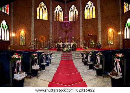 church is ready for wedding - stock photo