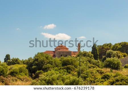 Church Metamorphosis Sotiros inside Niokastro (Pylos Castle), Peloponnese, Greece