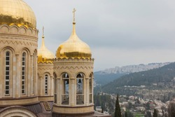 Church of all Saints in the land of the Russian brightened of the Russian Orthodox Gornensky convent of the Russian Spiritual Mission, Ein Kerem. Israel