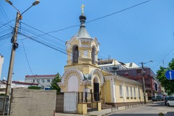 Church of Constantine and Helena, Simferopol, Crimea. Building was built in 1785 as regimental church. Translation of writing: 'I will create my church and gates of hell will not prevail'