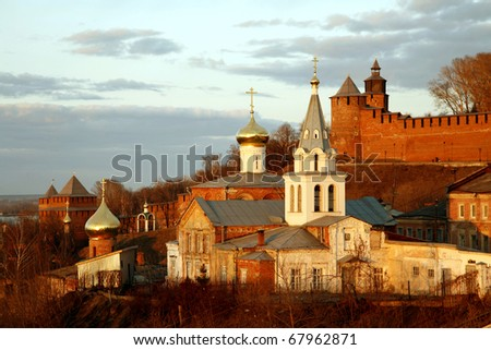 Church of Elijah the Prophet and Kremlin. Nizhny Novgorod, Russia.