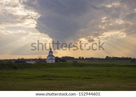 Church of Ilya prophet on Ivan grief in Suzdal. Evening landscape. Golden Ring of Russia.