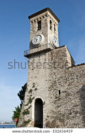 Church of Notre Dame clock and bell tower in Cannes, France.