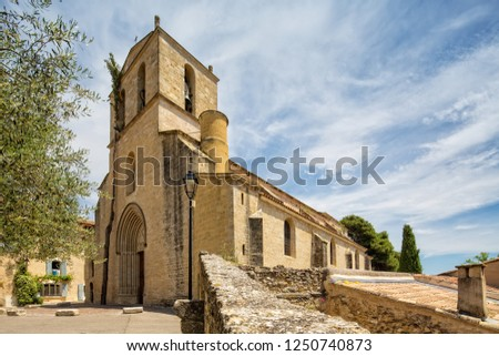 Church of Notre-Dame de Beaulieu in the medieval village of Cucuron, Provence, Luberon, Vaucluse, France