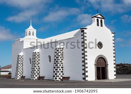 Church of Nuestra Senora de los Volcanes in Mancha Blanca on the island of Lanzarote, Canary Islands. Spain, Europe.  Foto stock ©