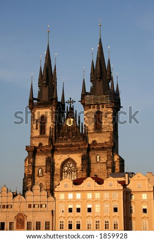 Church of Our Lady Before Tyn in Prague old town - shot during the golden hour