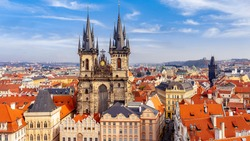 Church of our lady Tyn, and Powder Tower, Prague, Czechia