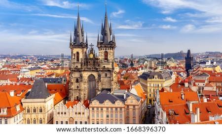 Church of our lady Tyn, and Powder Tower, Prague, Czechia Stock photo ©
