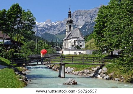 Church of Ramsau near Berchtesgaden with the Reiteralpe mountain