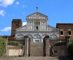 Church of saint minias on the mountain called San Miniato al Monte in Italian Language in Florence