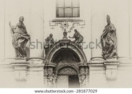 Church of Saint Nicholas (Saint Nicholas Cathedral) at Old Town Square, Prague, Czech Republic. Built in 1704 - 1755 it is described as most impressive example of Prague Baroque. Antique vintage.