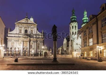 Church of Saints Apostles Peter and Paul and Saint Andrew's Church. Krakow, Poland #380526565