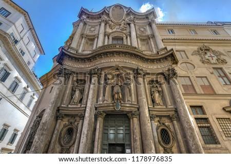 Church of San Carlo alle Quattro Fontane by Francesco Borromini in Rome, Italy. Foto stock ©