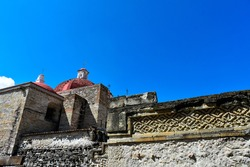 Church of San Pablo in Mitla is built on top the ruins of the pre-Hispanic city of San Pablo Villa de Mitla, Oaxaca, Mexico.