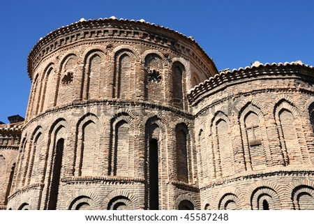 Church of Santiago del Arrabal in Toledo, Spain. Old landmark in Mudejar style.