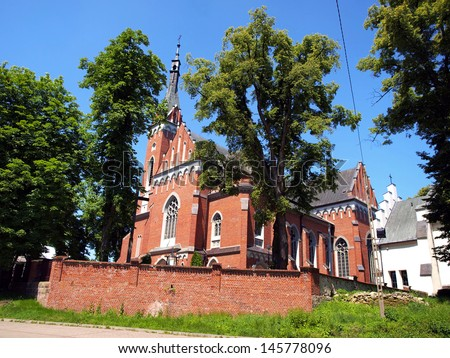 Church of St. Adalbert in Wawolnica near the famous chapel of the miraculous statue of madonna with child, Poland