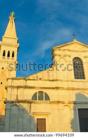 Church of st. Euphemia in Rovinj sunset light irradiated (Croatia) - stock photo