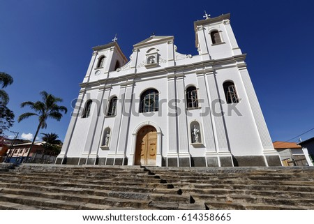 Church of St. Louis of Toloza, matrix of Sao Luiz do Paraitinga, rebuilt in 2014 after devastating floods suffered by the historic city in 2010 #614358665