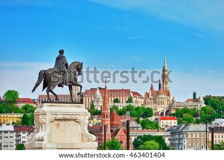 Church of St. Matthias ,Fisherman's Bastion,Calvinist Church with statue Andrassy Gyvla.Hungary