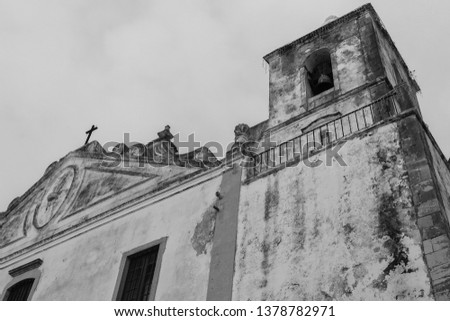 Church of St. Sebastian, Portugal - Algarve. Close up on old church. Black and White picture.