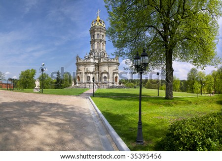 Church of the Blessed Virgin in Dubrovitsy - Orthodox Church in the Italian style. Located in the village Dubrovitsy, Podolsky district, Moscow region. The church was build in 1704