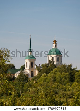 Church of the Holy Face in Kiowa. Architect Karl Ivanovich Blank 1769. Moscow region the city of Lobnya. View from Kiowa Lake. Сток-фото ©