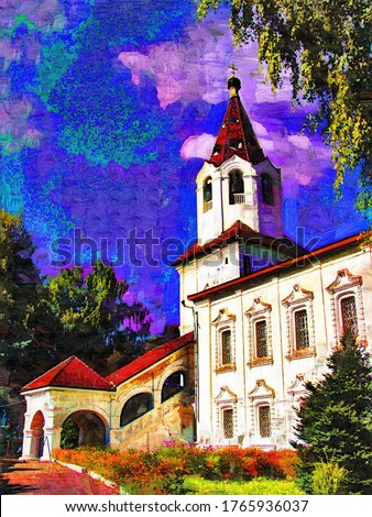 Church of the Holy great-Martyr Varvara (built in the middle of the XVIII century) architectural style: Naryshkinsky, Baroque  in Smolensk in a the style of painting Fauvism