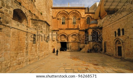 Church of the Holy Sepulchre in Jerusalem, Israel. The site is where Jesus was crucified, and is said to contain the place where Jesus was buried.