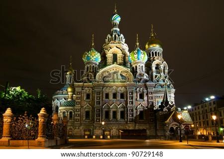 Church of the Savior on Blood. Night St. Petersburg. Russia - stock photo