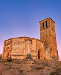 Church of the True Cross, of Romanesque style, was known in antiquity as the Holy Sepulcher. Catholic temple, San Marcos neighborhood in the city of Segovia, autonomous community of Castilla y León,