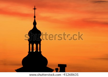 church on a orange sky