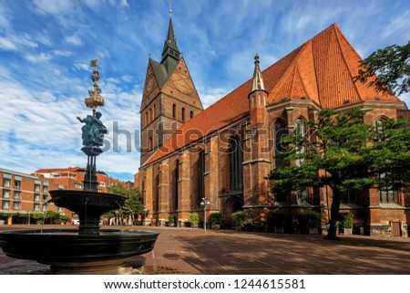 Church on Market place on the Market Square in Hanover in Germany. The church is called Marktkirche. Hannover or Hannover is a city in Lower Saxony of Germany.