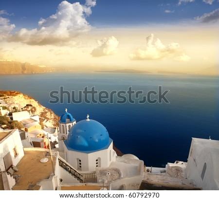 Church on Santorini island at sunset