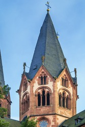 Church On St. Mary, Gelnhausen, Germany.  It shows both Romanesque and Gothic architecture elements