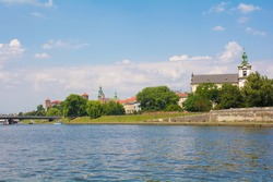Church on the Rock, AKA Skalka, the Pauline Church and St Stanislaw's church, on the banks of the Vistula in Krakow, Poland. Wawel Hill, including Wawel Cathedral and Castle, are in the background