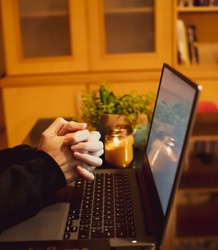 Church online services concept, Home church during quarantine coronavirus Covid-19. Mass online, prayer online