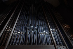 Church organ with many metal pipes