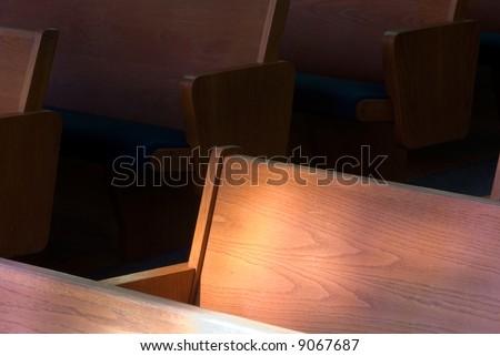church, pews, religion,empty,fait h, light,belief,desert ed, abandoned,left out, - stock photo