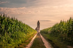 Church ruins at Lake Balaton in Hungary. Beautiful ruin in a corn field in the evening in the sunshine in hazy weather. An interesting and unusual building and a bit spooky