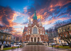 Church Saint Joseph (Parish of St. Joseph) - a historic Roman Catholic church in south-central part of Krakow, Poland at sunset. Was built 1905-1909 y and designed by Jana Sas-Zubrzyckiego.